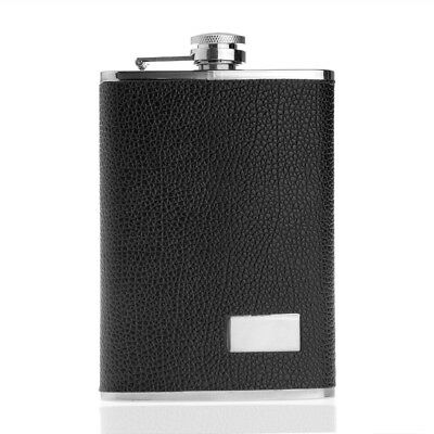 Steel Stainless Drink alcohol hip Flask Pocket Leather Gift Black 9oz