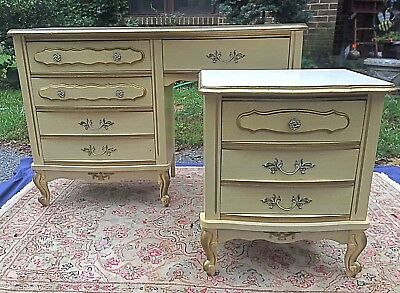 Antique Sears Bonnet French Provincial Desk & Night Stand Dresser End Table Set