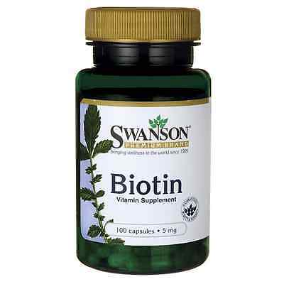 Swanson Premium Biotin 5000mcg (5mg) x 100 Caps for Healthy Hair, Nails and Skin
