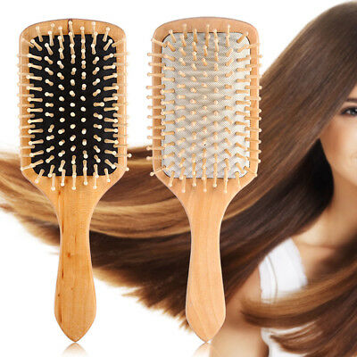 BL_ FH- Wooden Hair Paddle Brush Hair Keratin Care Spa Massage Antistatic Comb L