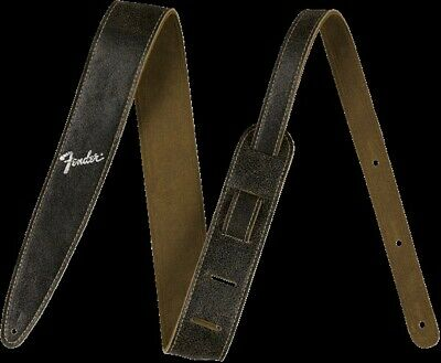 "NEW Fender 2"" Distressed Leather Guitar Strap, BLACK - #099-0628-006"