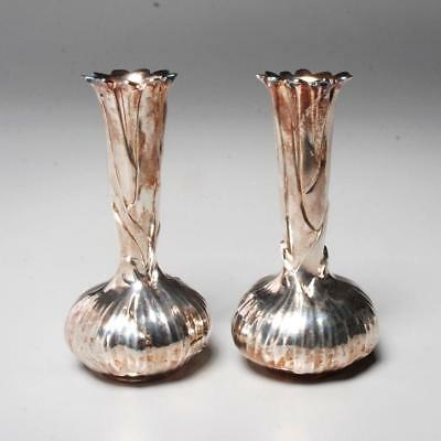 Signed Christofle France Silverplate Pair Of Bud Vases Onion Design