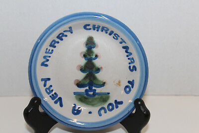"Ma Hadley Signed Studio Pottery 4 1/4"" Plate; A Very Merry Christmas To You Tree"