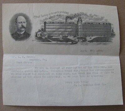 1894 W.L. Douglas Shoe Co Brockton Mass Letterhead~Factory & Owner Shown