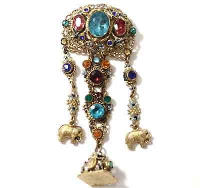 Antique Bohemian Czech Ornate Jeweled and Enamel Chatelaine brooch