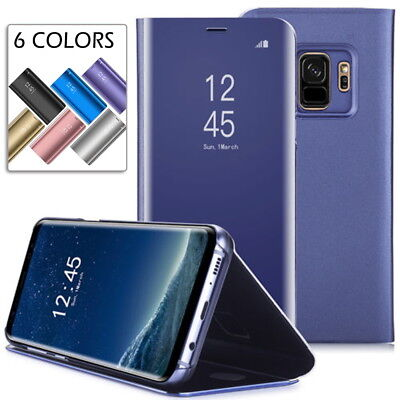 Smart Case For Samsung Galaxy S9 Plus Clear View Mirror Leather Flip Stand Cover