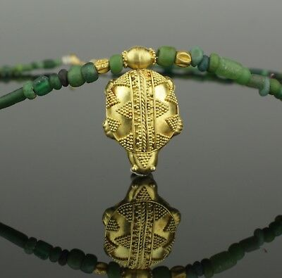 BEAUTIFUL ANCIENT ROMAN GOLD TURTLE & GLASS BEAD NECKLACE - CIRCA 2nd Century AD