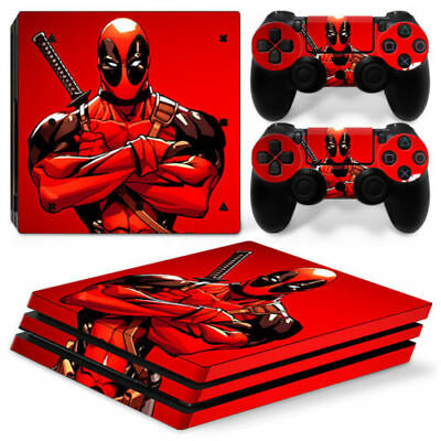 PS4 Pro Skin & Controllers Skin Vinyl Sticker For PlayStation 4 Pro Deadpool Red