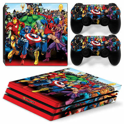 PS4 Pro Skin & Controllers Skin Vinyl Sticker For PlayStation 4 Pro Avengers