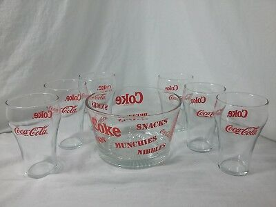 Coke Coca Cola Glass Snack Bowl w/ 6 Glasses Set Great For Party, Movie, Guests