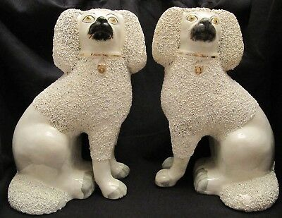 Antique early Staffordshire Dogs Figure 1860   pair poodle Extra Large 28 cm