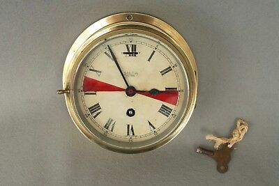 Working Antique 8 Day Smiths Astral Brass Ships Radio Room Bulkhead Clock