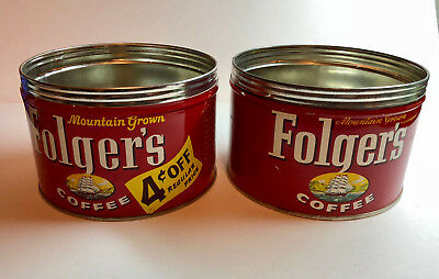 Lot of 2 Vintage 1 lb Folger's Coffee Tin Cans with Sailing Ship c. 1959
