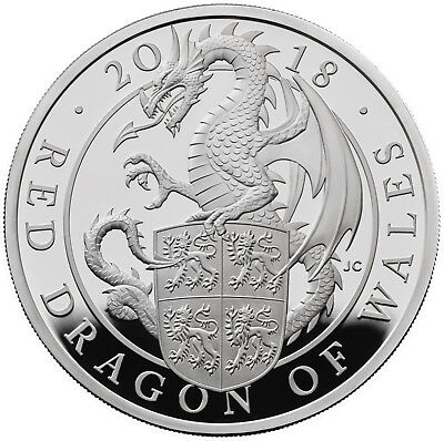 1 Oz Silver Proof Queens Beasts Red Dragon of Wales 2 £ UK 2018 silber Drache