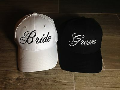 Bride Hats  Groom Hats   Bride and Groom Hats   Bridal Shower  Embroidered Hats