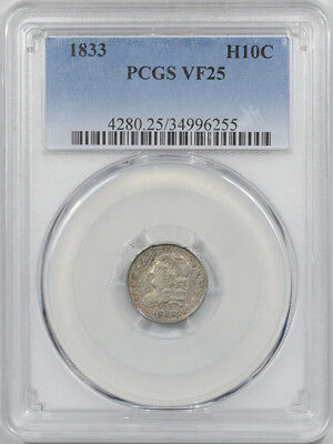 1833 Capped Bust Half Dime Pcgs Vf-25