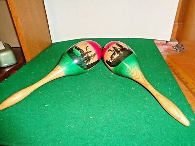"Vintage set of 11"" Maracas made in Mexico"