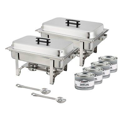 Set of 2 8 Quart Chafing Dishes with 4 Fuels and 15-Inch Serving Spoon