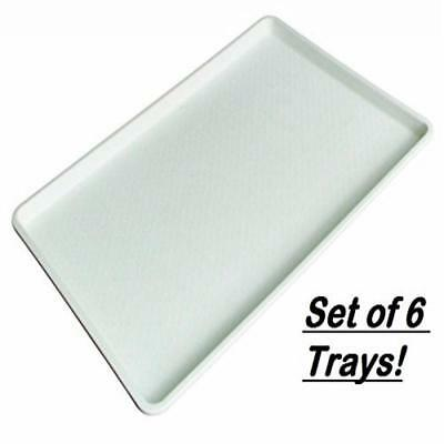 18 x 26 Inch Plastic Tray White, Set of 6
