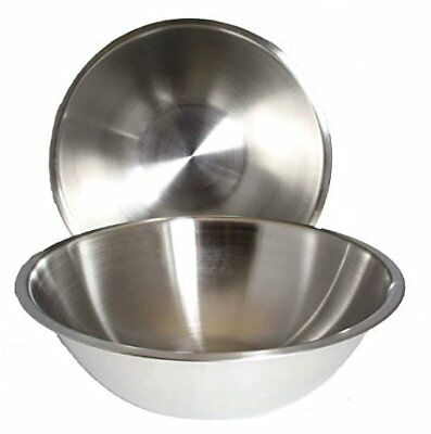SET OF 2 - Large 13 1/4 Inch Wide Stainless Steel Flat Base Mixing Bowls