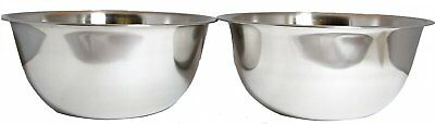 SET OF 2, 8-Quart Heavy-Duty Deep Stainless Steel Flat Base Mixing Bowl