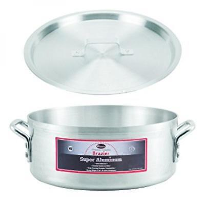 Winco AXBZ-15, 15-Quart Aluminum Brazier Pan with Cover, NSF