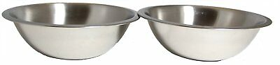 SET OF 2 - 11 1/2 Inch Wide Stainless Steel Flat Rim Flat Base Mixing Bowl