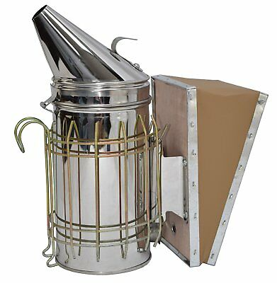 236kk1 New Bee Hive Smoker Stainless Steel w/Heat Shield Beekeeping Equipment