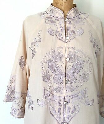 Vintage 1960s Floral Butterfly Embroidered Jacket Lilac Bell Sleeve Blouse M/L