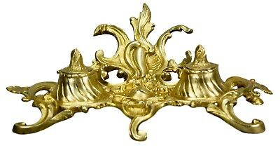 French Antique Rococo Ormolu Bronze Double Inkwell Ink Stand