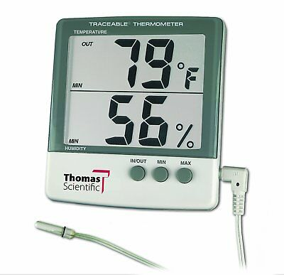 """Thomas 4184 ABS Plastic Traceable Jumbo Thermo-Hygrometer, 1-1/8"""" High Display,"""