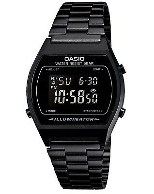 Casio B640WB-1BEF Black Classic Digital Watch with Stainless Steel Band New 50M