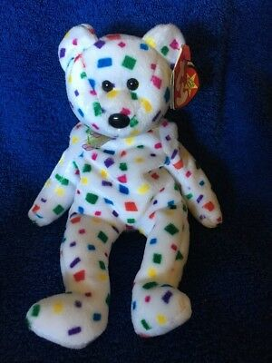 Ty Beanie Babies 1999 TY 2K Confetti Bear PE Tag Creased