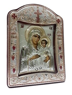 """Virgin Mary & Baby Jesus Silver 925 Icon Greek Orthodox Plaque Gold Plated 4.1"""""""