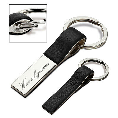 Metal Key Ring in Combination with Leather Personalised with Engraving