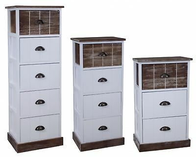 Dresser 111cm High Wardrobe + Drawers Brown Country Home Shabby Chic Vintage