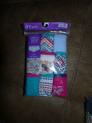 nwt  girls size 12 FADED GLORY BOY SHORTS PANTIES  9-Pack SUPER CUTE PRINTS