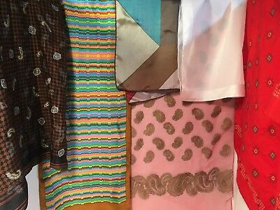Lot Of Six Vintage Silk Scarves