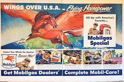 Merchandise & Memorabilia Advertising Original 1941 Print Ad Mobilgas Mobiloil Bears Hibernation Dealer 2 Page Art