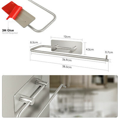 Adhesive Kitchen Paper Holder Tissue Roll Towel Storage Rack 304 Stainless Steel