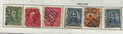 19th CENTURY 1890 RARE 6 X USA STAMPS 1 CENT TO 30 CENTS USED & HINGED LOT3