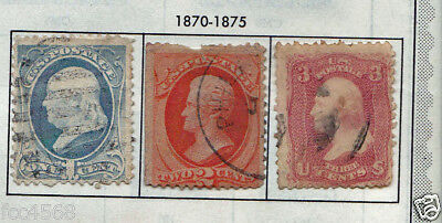 19th CENTURY 1870 RARE 3 X USA STAMPS 1 CENT TO 3 CENTS USED & HINGED