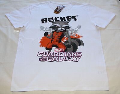 aa9f1047 Marvel Guardians Mens Rocket Racoon White Short Sleeve T Shirt Size L New