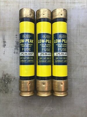 BUSSMANN * LPS-RK-60SP * 60A Low Peak Time Delay Fuse * LOT OF 3 *NEW no box