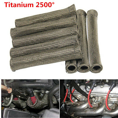 Titanium 2500° SPARK PLUG WIRE BOOTS HEAT SHIELD PROTECTOR SLEEVE For Car Engine