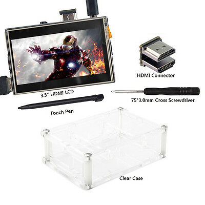 US TouchScreen 3.5 inch LCD Monitor HDMI Clear Case for Raspberry Pi 3 2 Model B