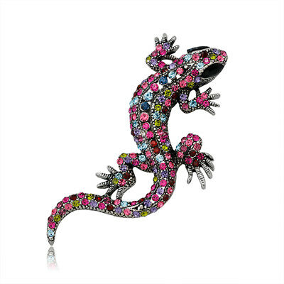 Artist Gecko Antique Silver Plated Colorful Rhinestones Superb Brooch Pin