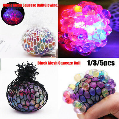 Novelty Anti-Stress Glowing Squishy Mesh Venting Ball Grape Squeeze Toy Good HU