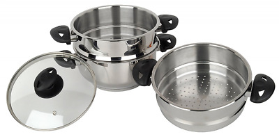Stainless Steel Collection 3-Tier Stainless Steel Steamer Set, 20 cm