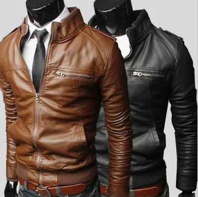 Hot Sale Men's New jackets Collar Slim Motorcycle Leather Jacket Outwear Coat